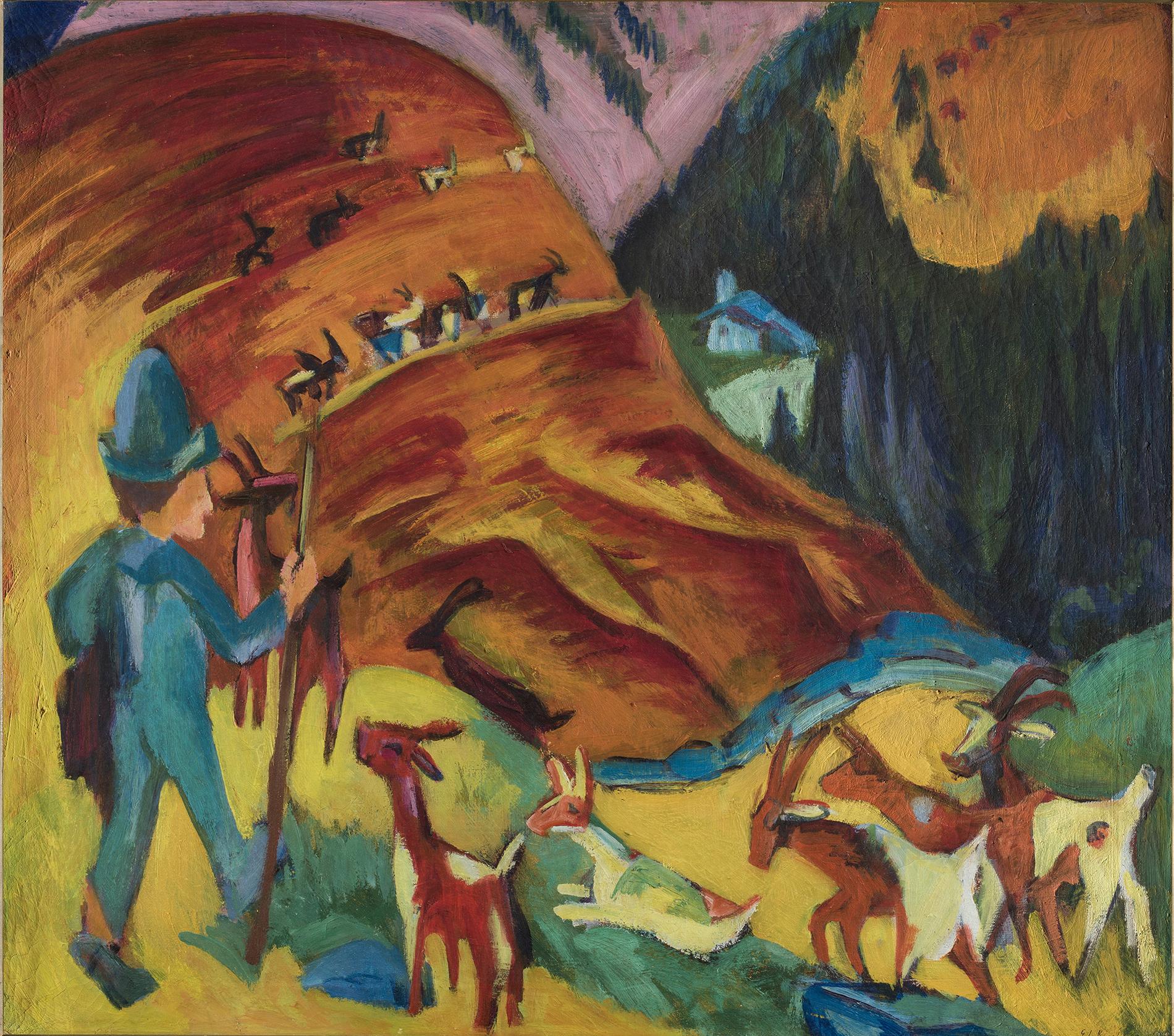 Ernst Ludwig Kirchner, Heimkehrende Ziegenherde, 1920, Öl auf Leinwand, Fondazione Gabriele e Anna Braglia, Lugano. Foto: Roberto Pellegrini