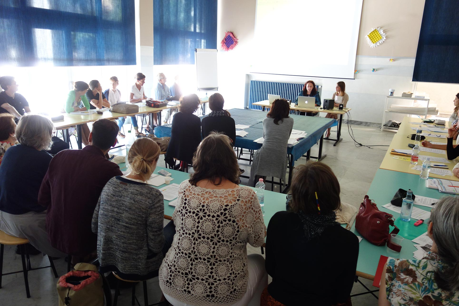 Kick off with Progetto Scuola organisers and a teacher's instructor, September 2014 (Photo: Barbara Fässler)