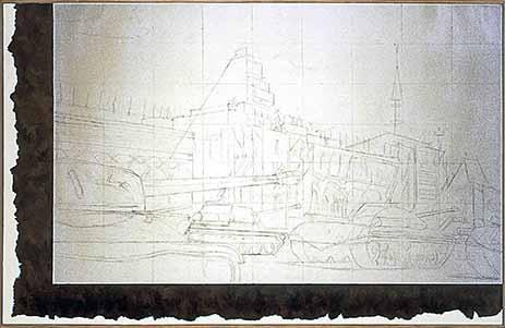 Ilya Kabakov, Parade on Red Square, 1972, 2002, Graphit und Öl auf Leinwand, 160 x 250 cm, Courtesy Sprovieri, London, Photo Ilya and Emilia Kabakov Studio, Long Island