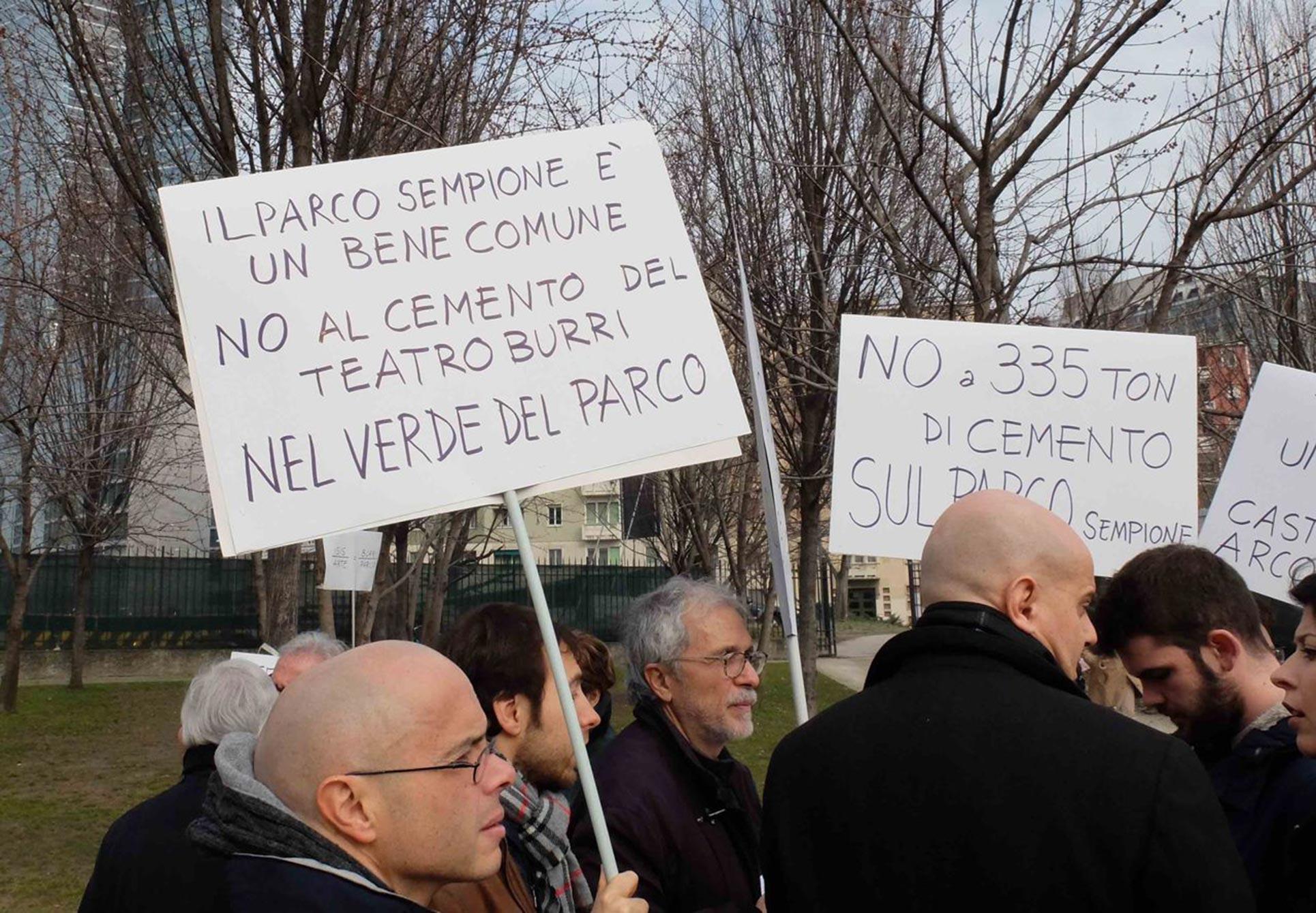 Protest against Alberto Burri's Teatro Continuo, 2015, Milan
