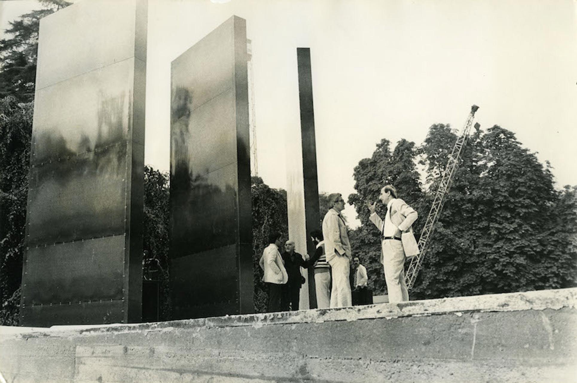 Teatro Continuo, Alberto Burri, reconstruction 2015 of the original 1972 work on the picture, in Sempione park in Milan