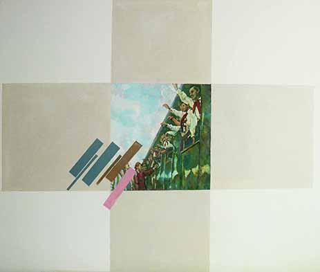 "Ilya Kabakov Charles Rosenthal: Twelve Commentaires on Suprematism, 1926 , ""Goodbye"" 1999 Öl auf Holz 120 x 138 cm Sammlung Olgiati, Lugano Photo Ilya and Emilia Kabakov Studio, Long Island"