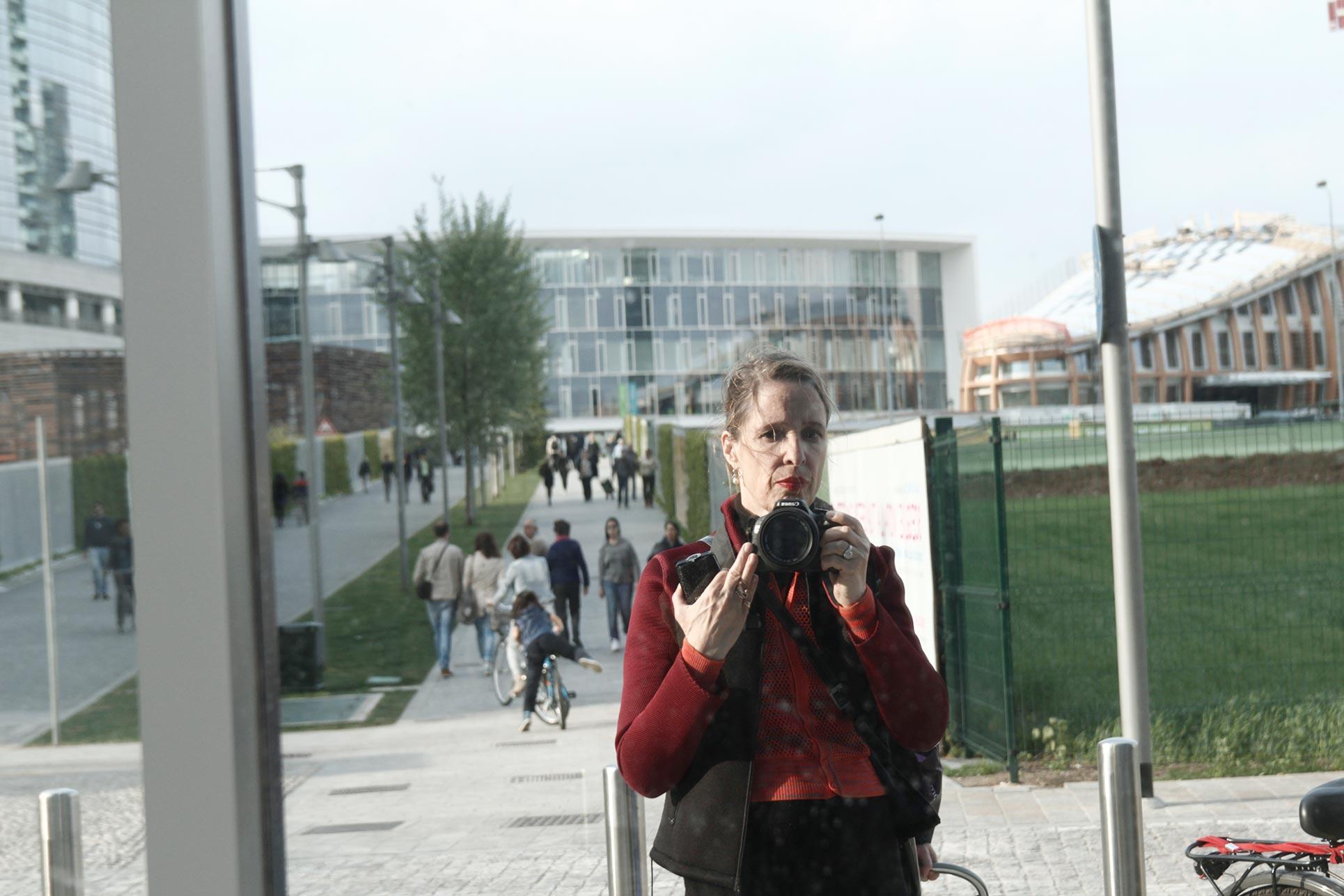 Selfie in one of the new buildings (Photo: Barbara Fässler)