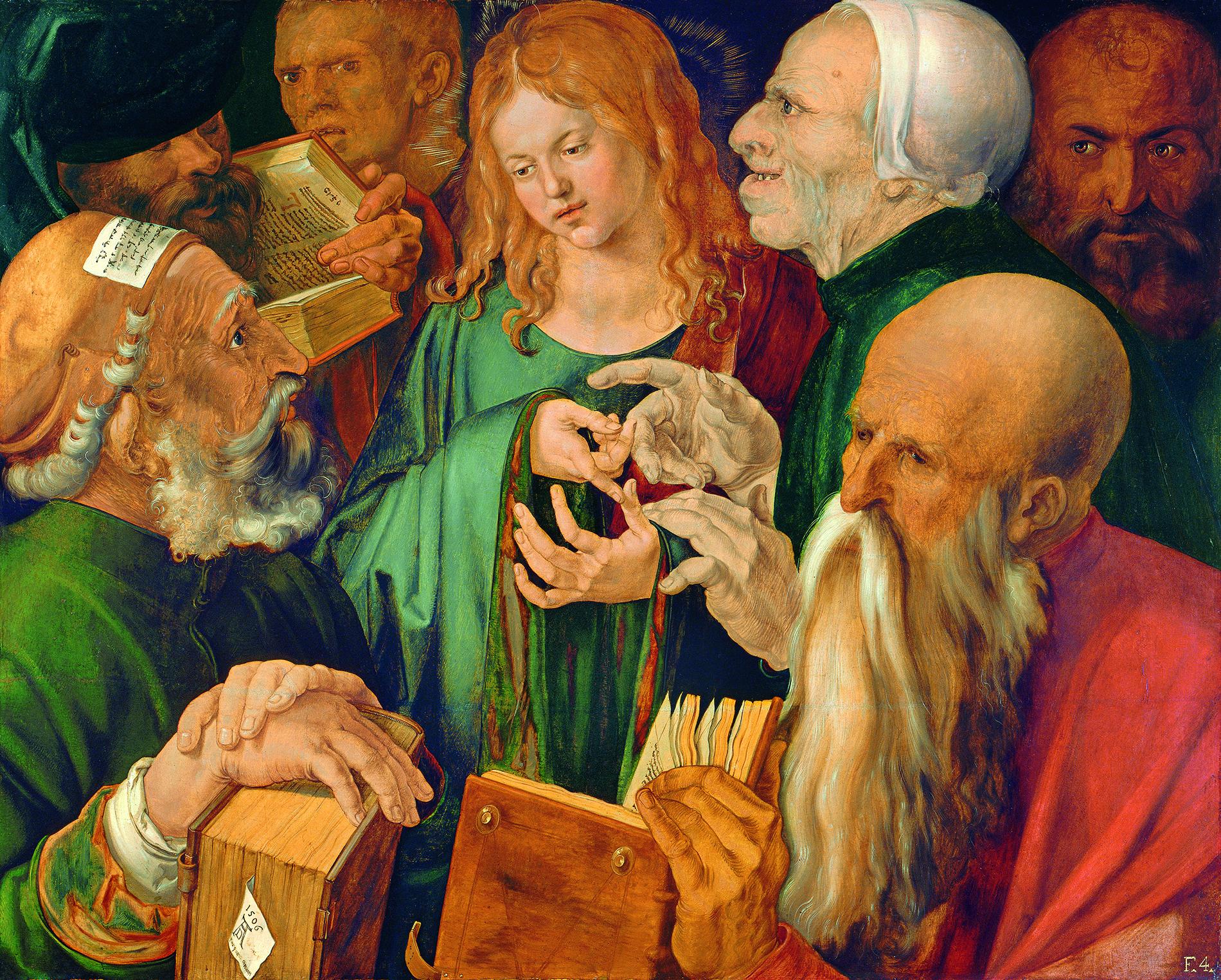 Albrecht Dürer, Der zwölfjährige Jesus unter den Schriftgelehrten, 1506, Öl auf Holz,    Madrid, Museum Thyssen-Bornemisza  © 2018. Museo Thyssen-Bornemisza / Scala, Florenz