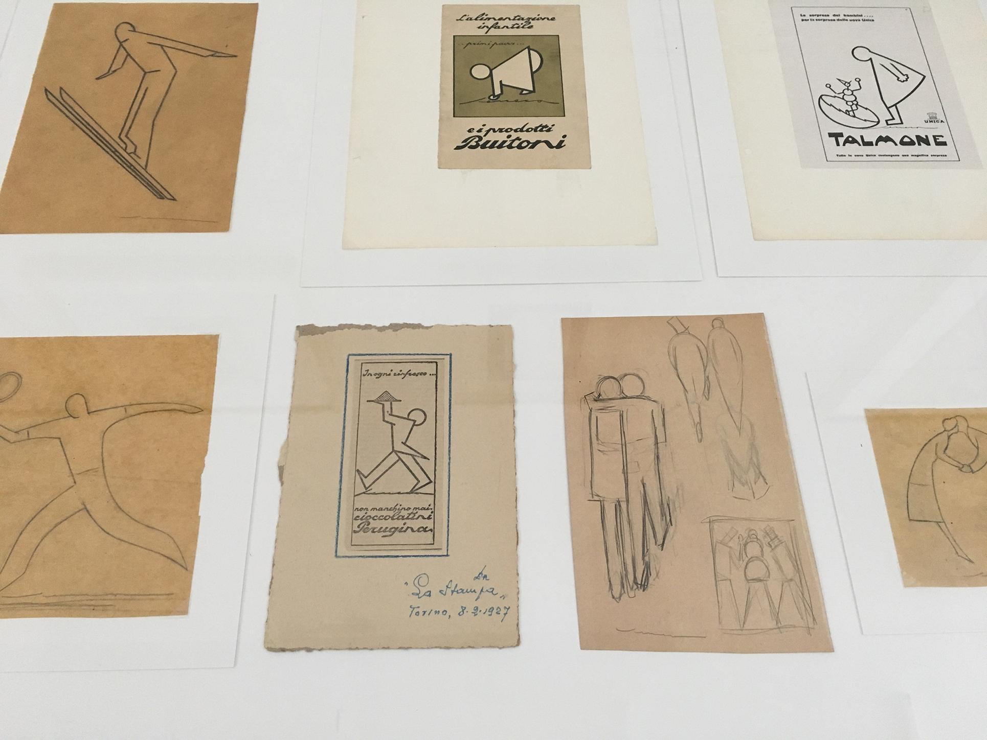 Federico Seneca: Vorbereitungsskizzen (Privatsammlung), 1922-1930 und Zeitungsinserate 30er Jahre (Foto Barbara Fässler)