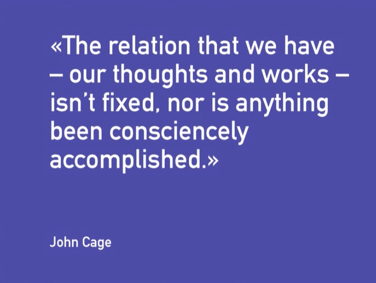 Quote John Cage about Performing Arts, videostill