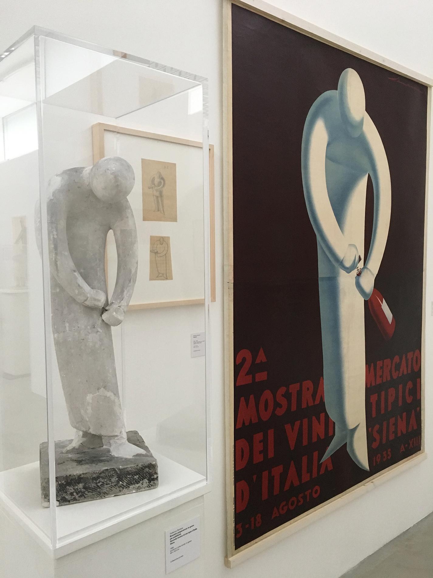 Federico Seneca: 2. Ausstellung typischer italienischer Weine in Siena, Gipsfigur und Poster (1935), (Foto Barbara Fässler)