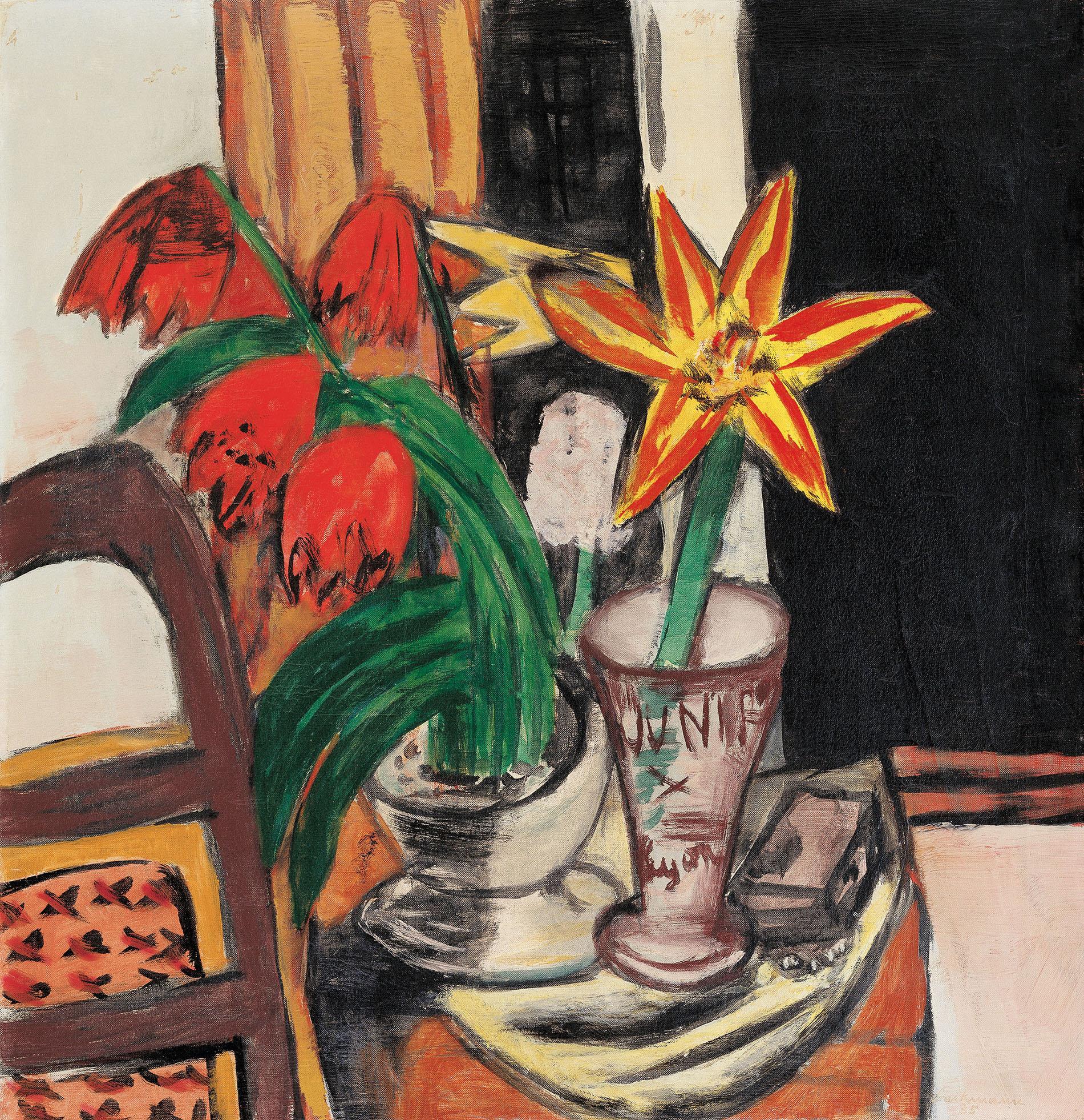 Max Beckmann, Rote Tulpen und Feuerlinien 1935, Öl auf Leinwand, Merzbacher Kunststiftung, © 2018, ProLitteris, Zurich