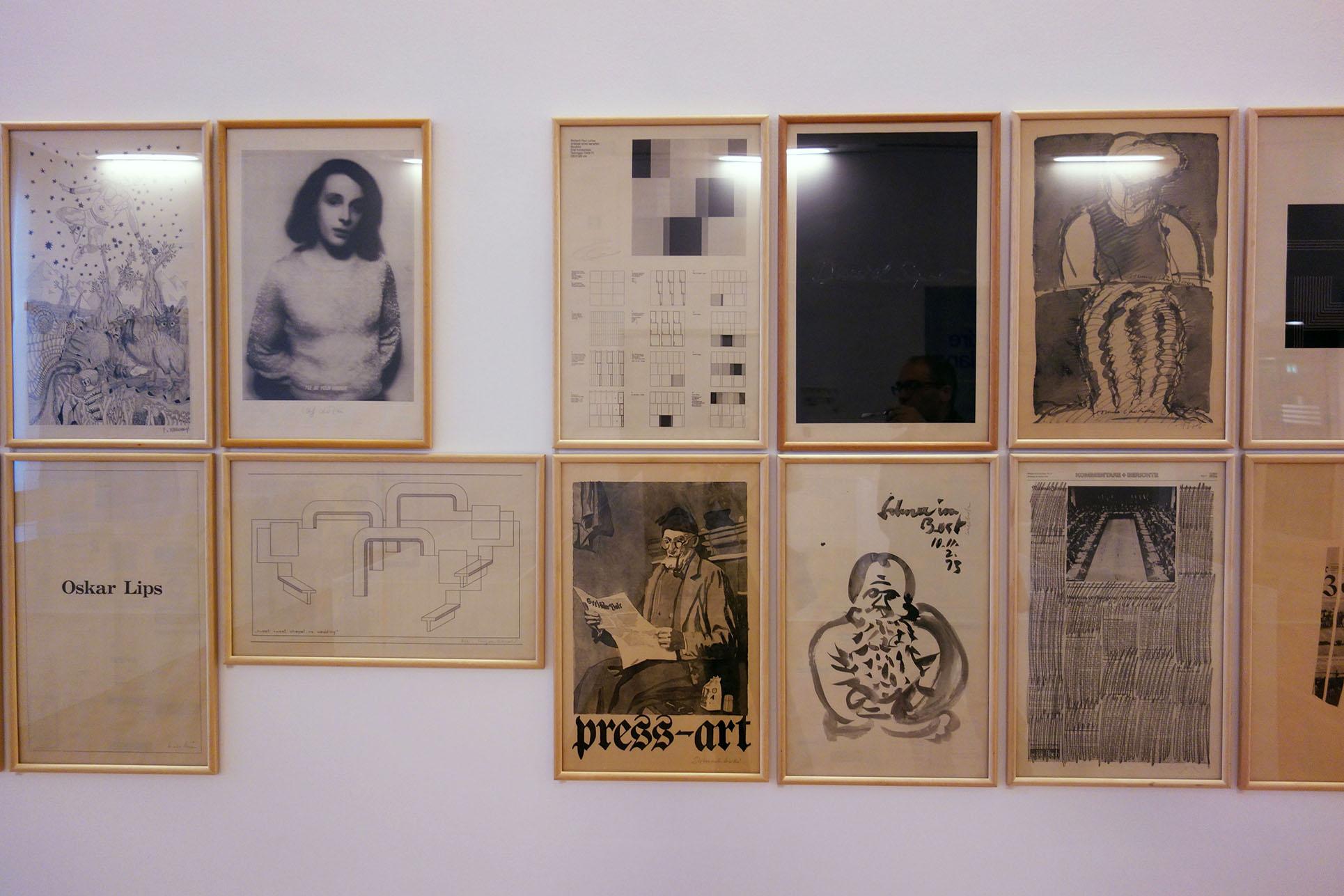 """Ed. Press ART, """"National-Zeitung"""" 1972-1973, Offset on newspaper, Exhibition view (Photo: Barbara Fässler)"""