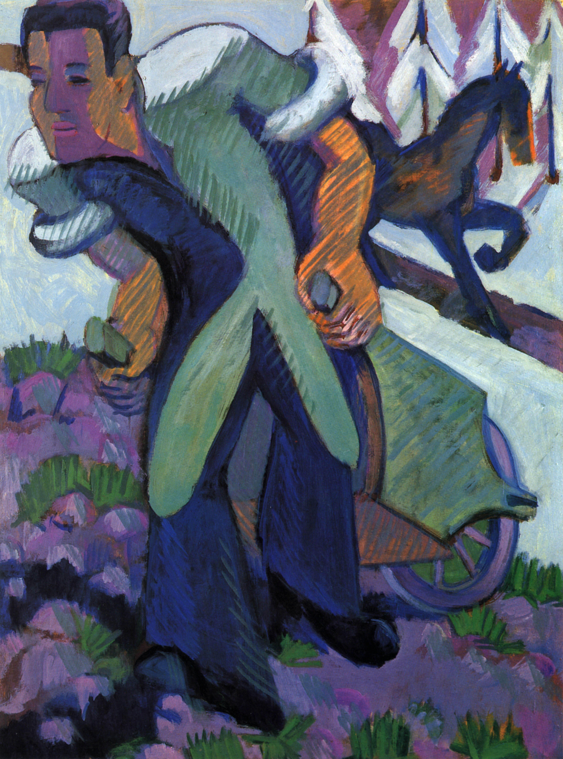 Ernst Ludwig Kirchner, Bauer einen Schubkarren ziehend, 1926-1926/1932, Öl auf Leinwand, Courtesy Galerie Henze & Ketterer, Wichtrach/Bern