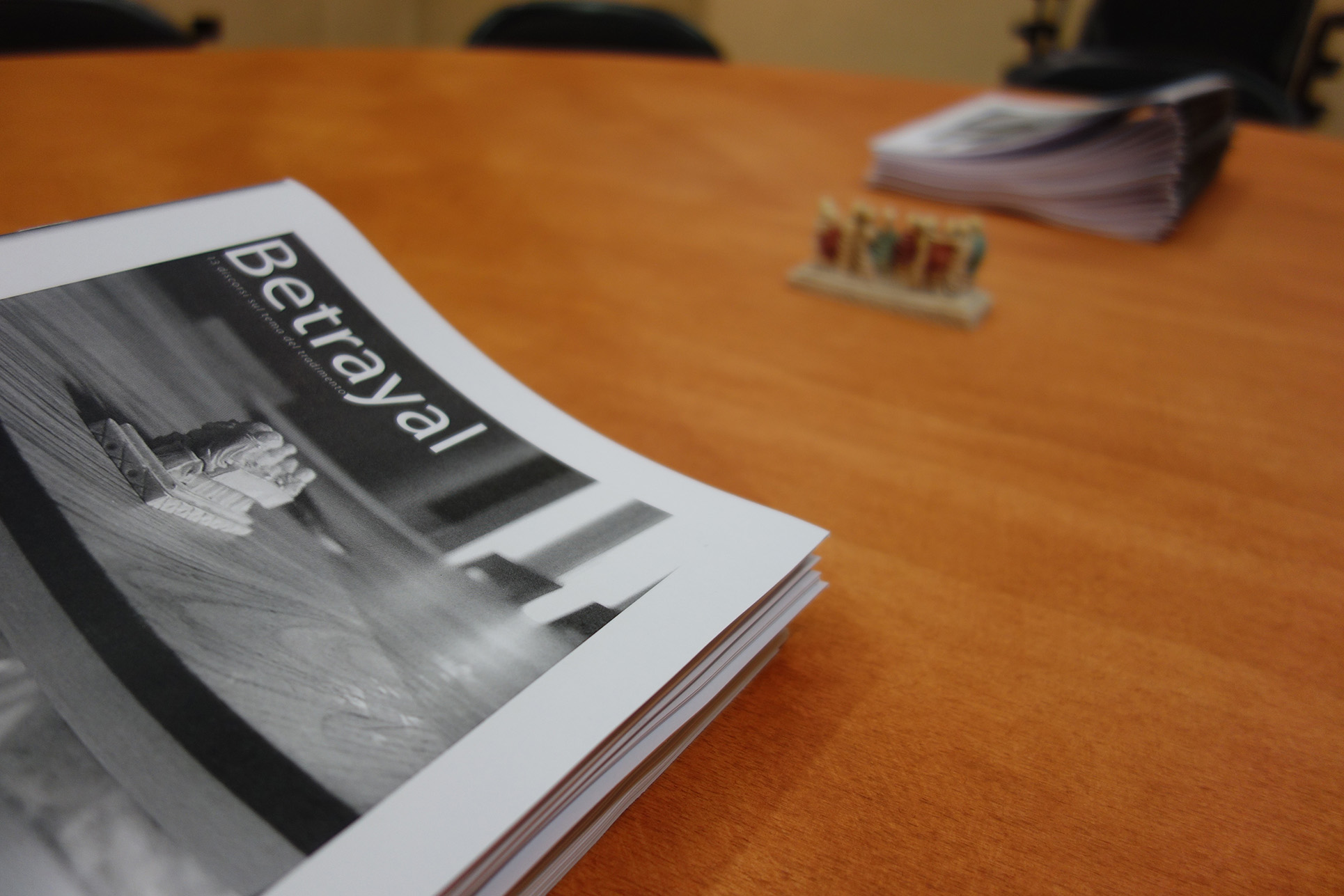 Installation detail with publication of the 13 interviews by Postmediabooks