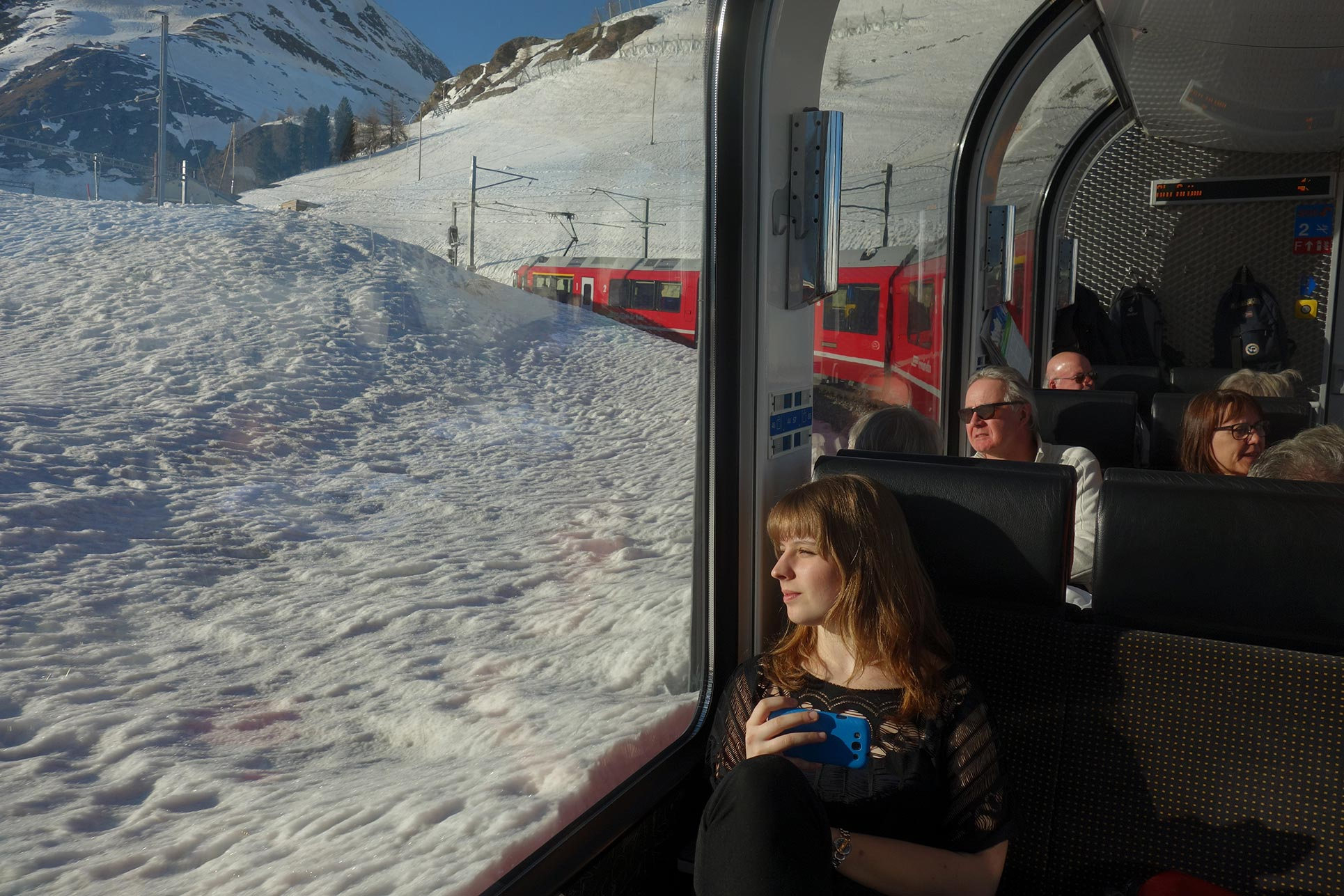 Travelling through Poschiavo Valley with Rhaetian Railways (Photo: Barbara Fässler)