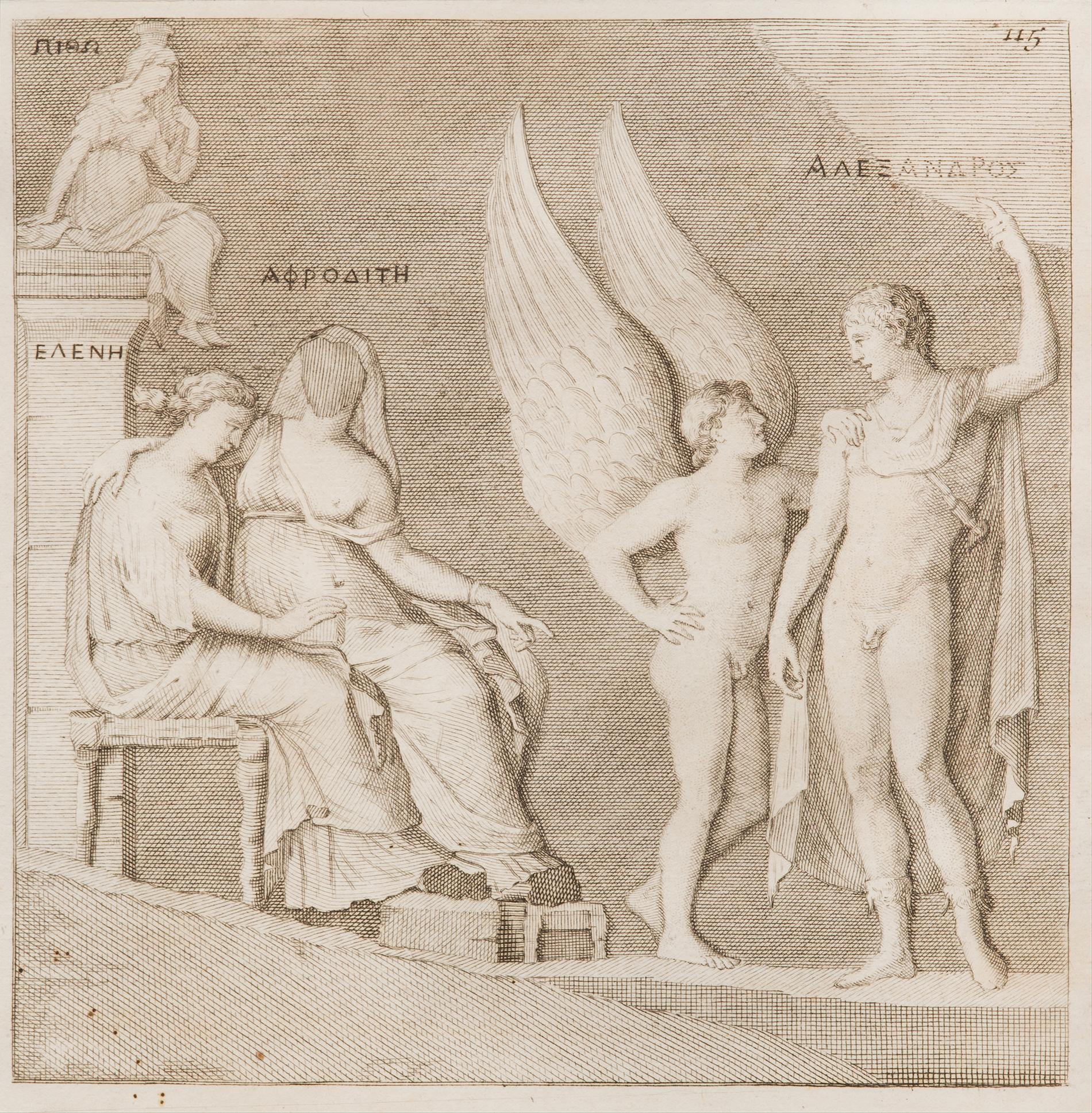 """Anonym, Relief von Paris und Aphrodite, Sammlung des Herzogs Carafa Noja Neapel, Radierung im """"Monumenti antichi inediti"""" n. 115, 1767, 14,6 x 14,5 cm, Sammlung m.a.x. museo, Chiasso"""