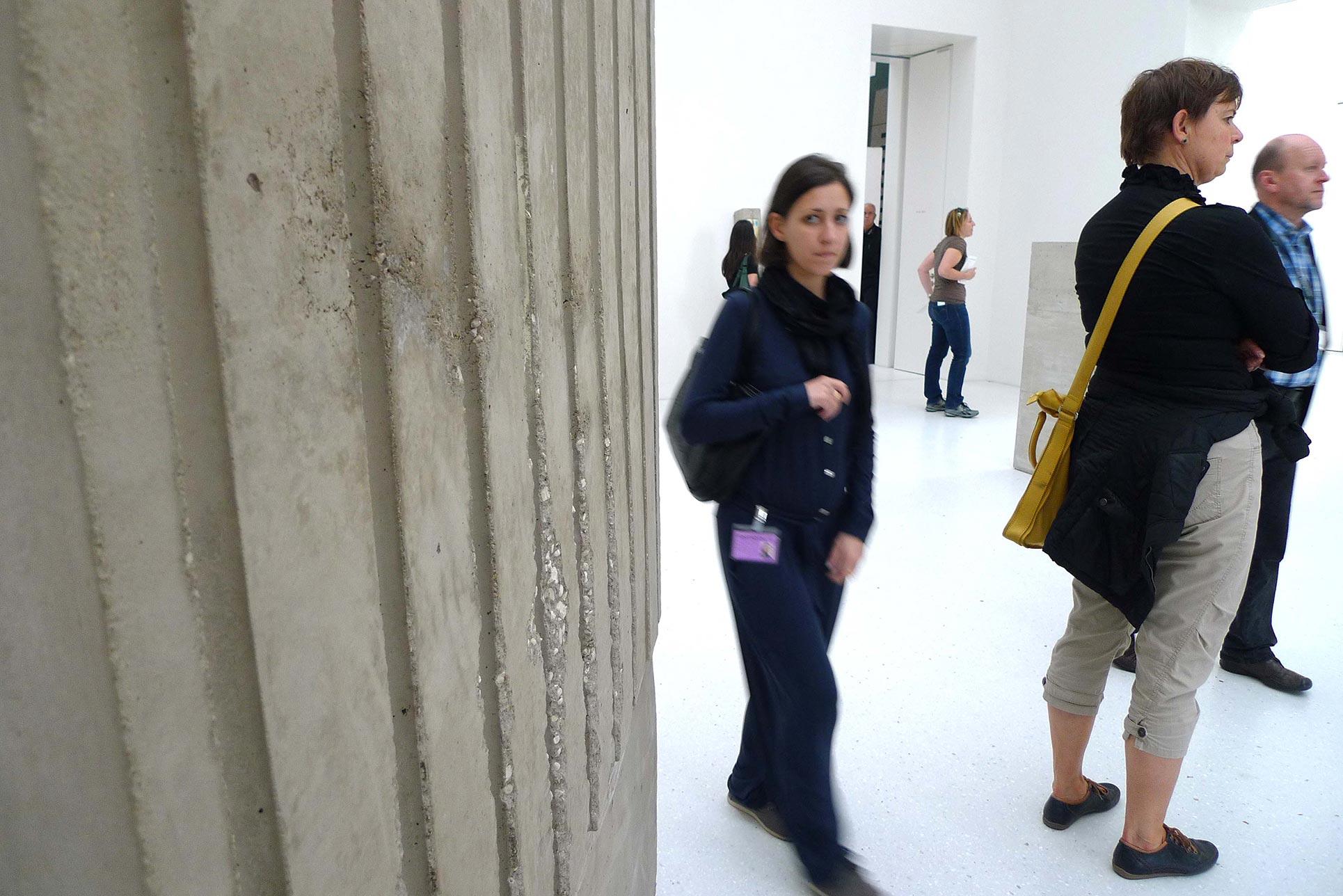 Rossella Biscotti appears behind her work The Process, 2010-2012, (Photo: Barbara Fässler)
