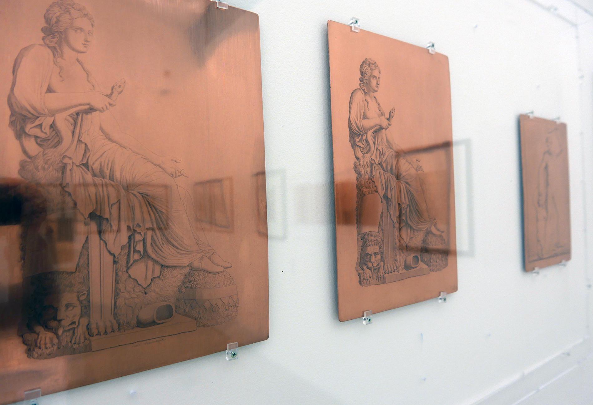 Ausstellungsansicht, Kupferplatten Radierung (Foto Barbara Fässler)