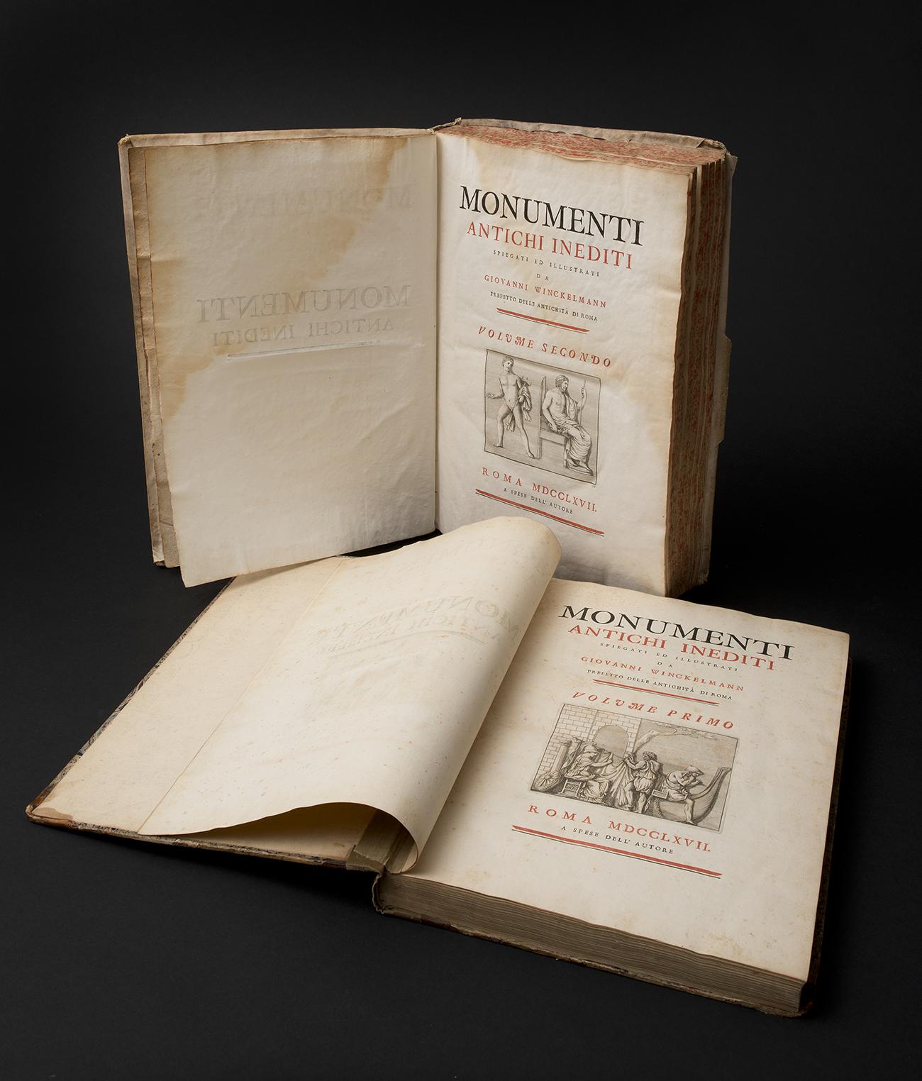 "Johann Joachim Winckelmann, Monumenti antichi inediti, editio princeps,  I und II Band, 1767, Nationale Bibliothek ""Vittorio Emanuele III"", Neapel"