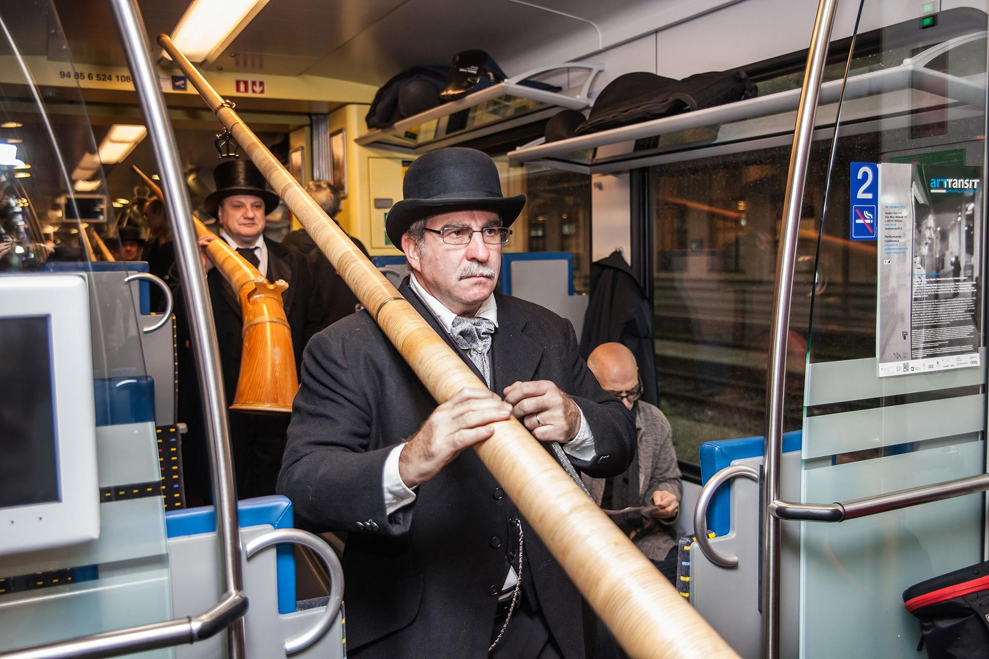 The alphorn players in the Performance Train (Photo: Tania Volobueva)