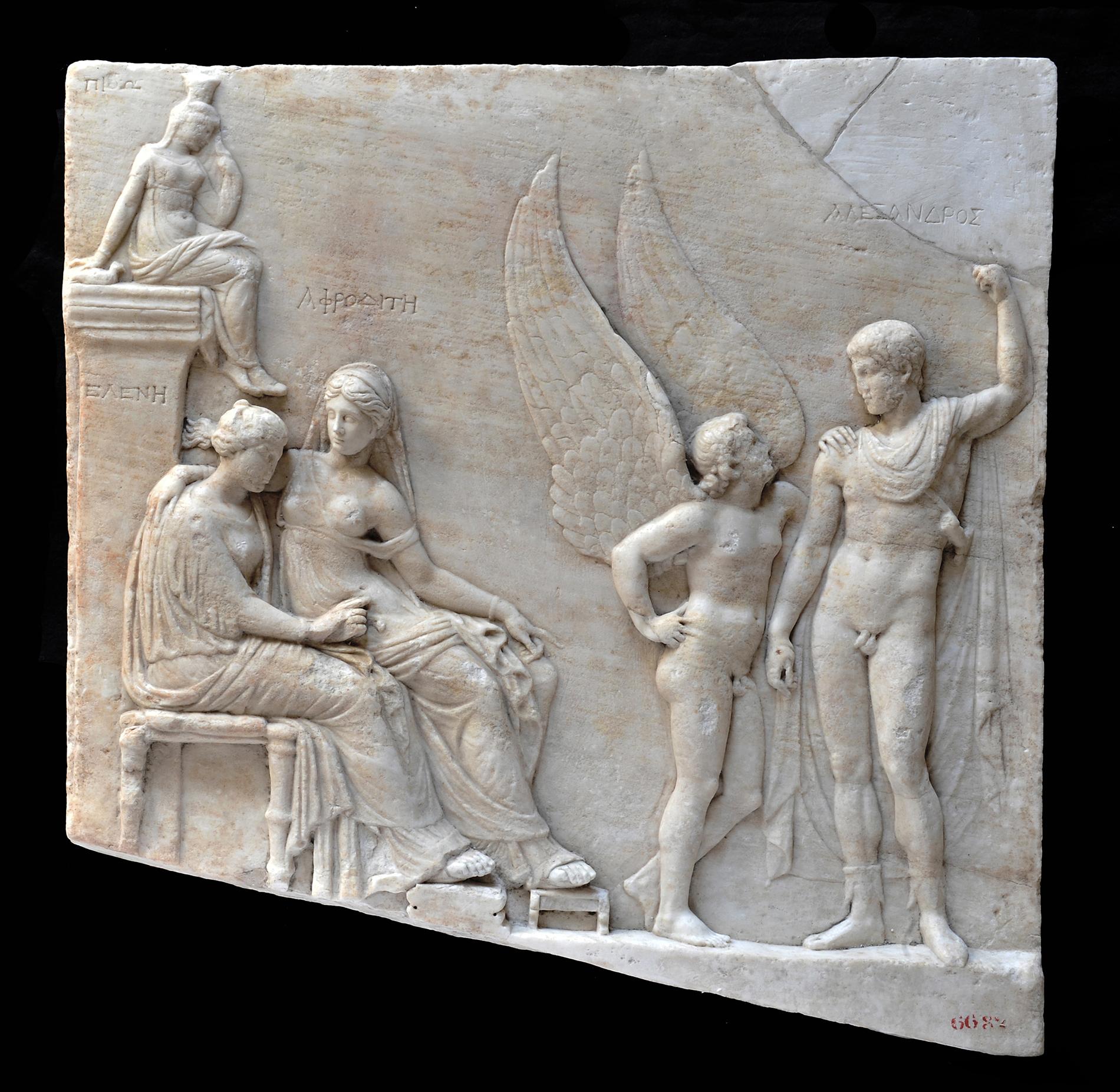 Relief von Paris und Aphrodite, neo-attischer Stil  (I sec. v.C.) Kopie von Typen aus 430 v.C., weisser Marmor,  67 x 66 cm, Nationales Antikenmuseum Neapel