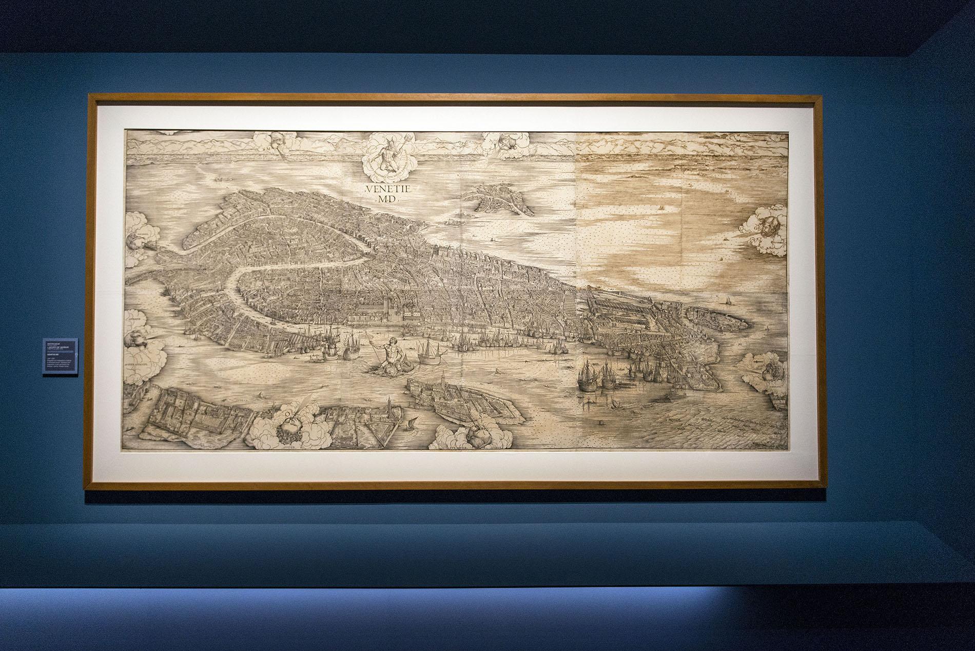 Ausstellungsansicht Palazzo Reale Milano, Jacopo de' Barbari, Veduta di Venezia, Radierung mehrteilig, Museo Correr Venezia, © Foto: Paolo Poce